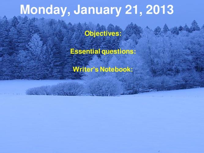 Week 21 Agenda
