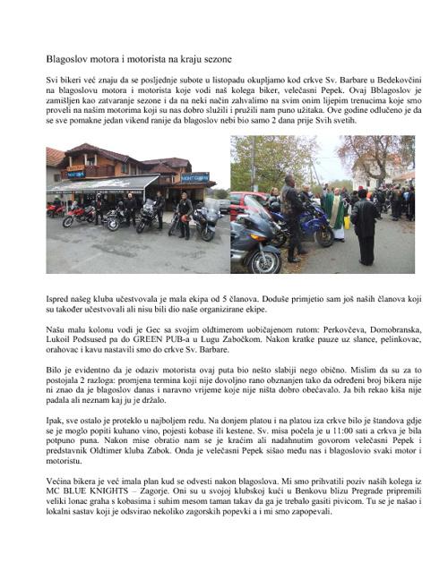 Blagoslov motora i motorista na kraju sezone 2011