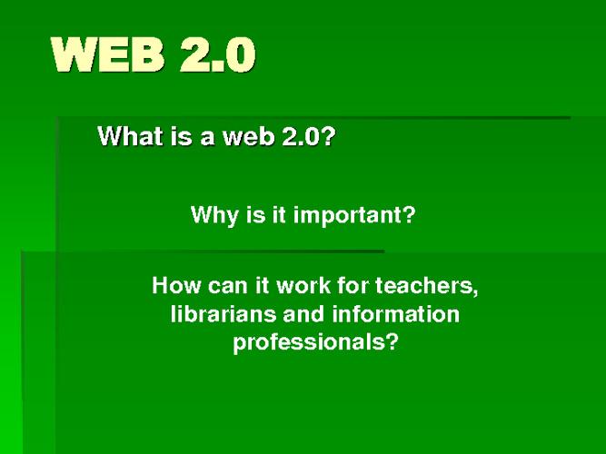 Web 2.O - An Introduction