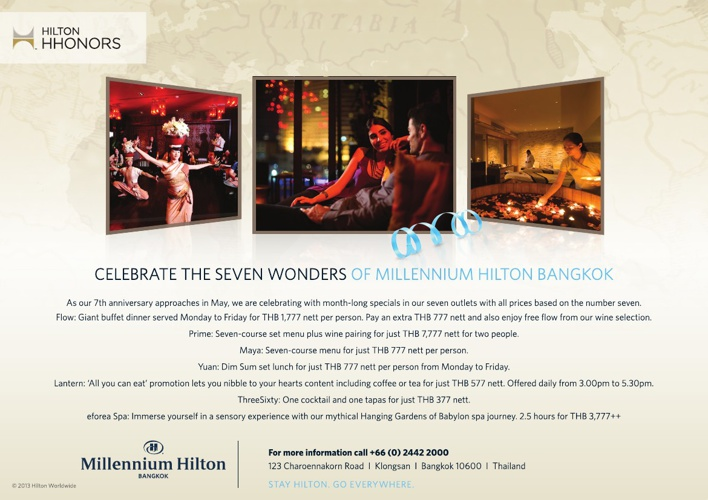 Celebrate 7 Wonders of Millennium Hilton Bangkok
