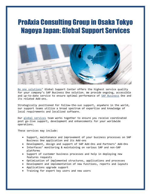 ProAxia Consulting Group in Osaka Tokyo Nagoya Japan: Global Sup
