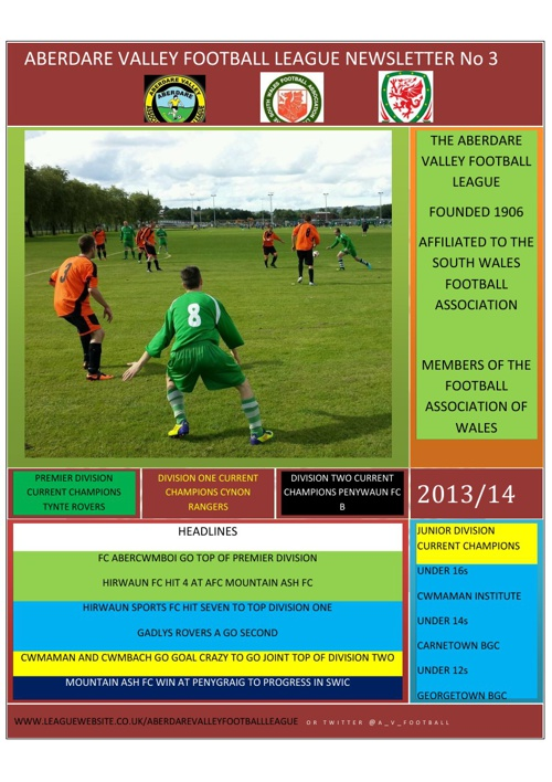 ABERDARE VALLEY FOOTBALL LEAGUE NEWSLETTER ISSUE 3