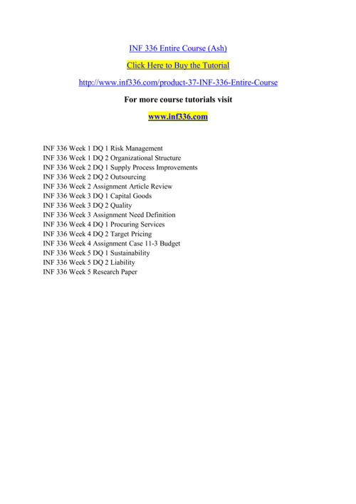 INF 336 Entire Course (Ash)