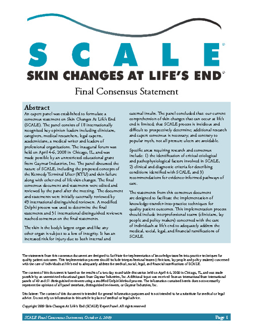 SCALE: Skin Changes at Life's End