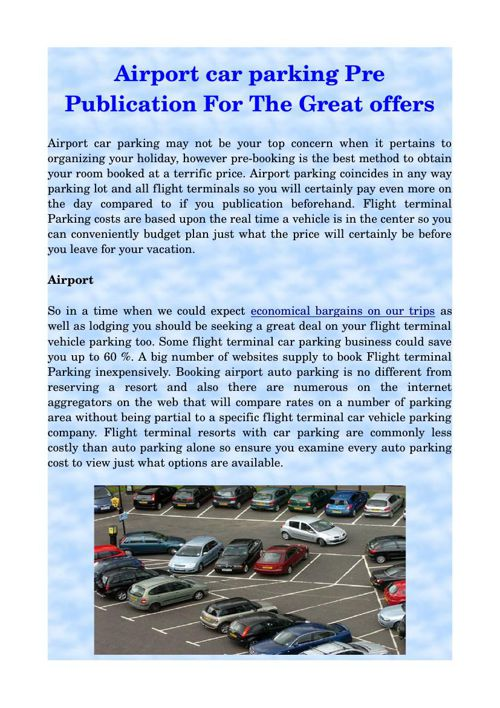 Airport car parking Pre Publication For The Great offers