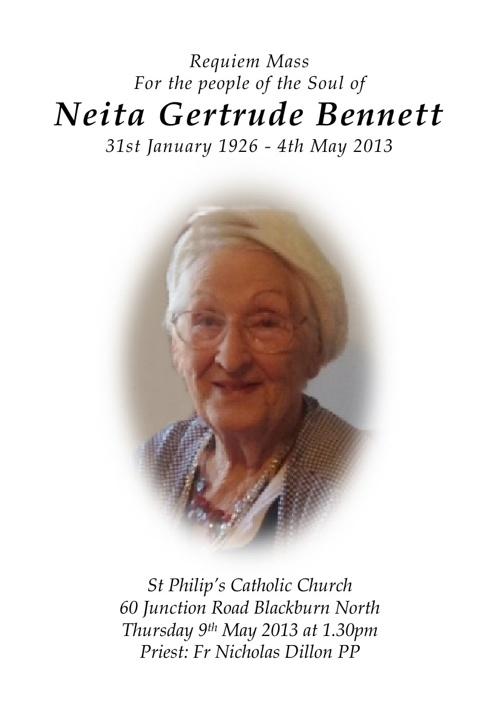 12 Page Order of Service for Neita Bennett