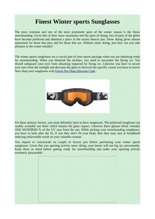 Finest Winter sports Sunglasses