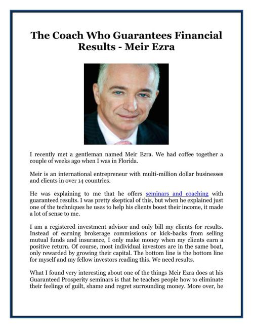 The Coach Who Guarantees Financial Results - Meir Ezra
