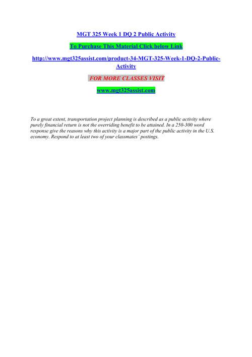 MGT 325 ASSIST Entire course /mgt325assist.com