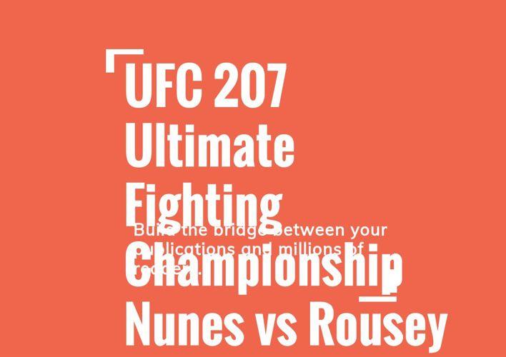 UFC 207 Ultimate Fighting Championship Nunes vs Rousey