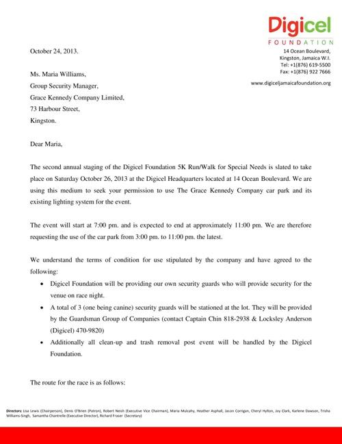 Grace Kennedy Letter