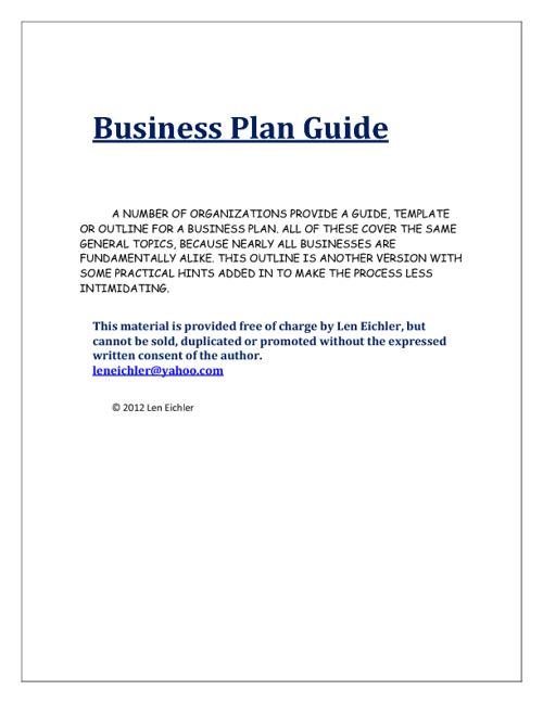 Business Plan Guide - 2012 - Developed by Len Eichler