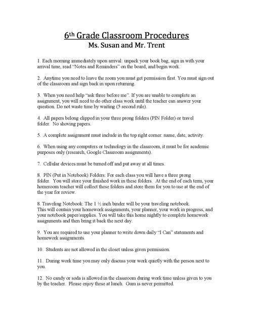 6th Grade Classroom Procedures 2016-2017