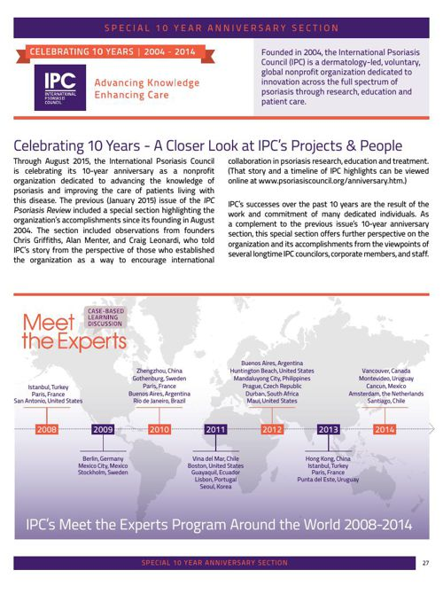 IPC 10 Year Anniversary - IPC's Projects & People