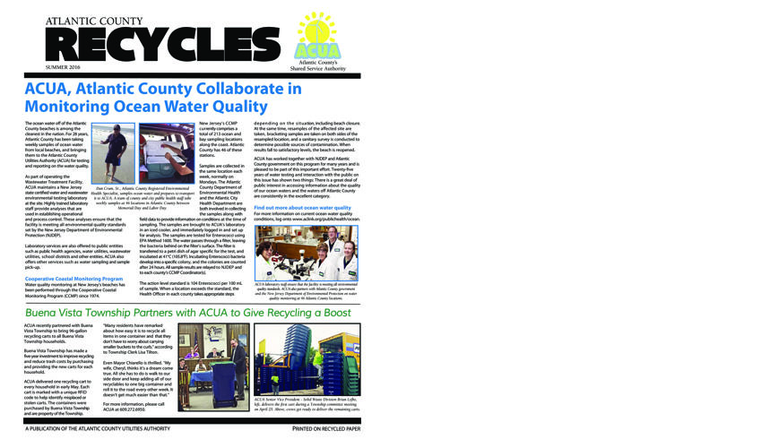 Atlantic County Recycles Summer 2016 Newsletter