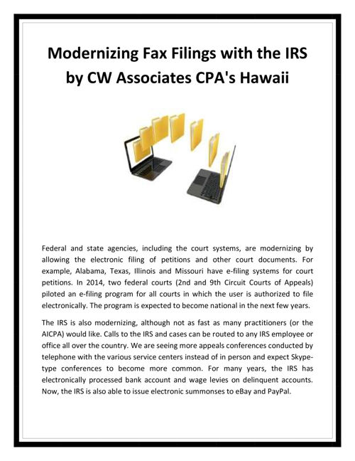 Modernizing Fax Filings with the IRS by CW Associates CPA's