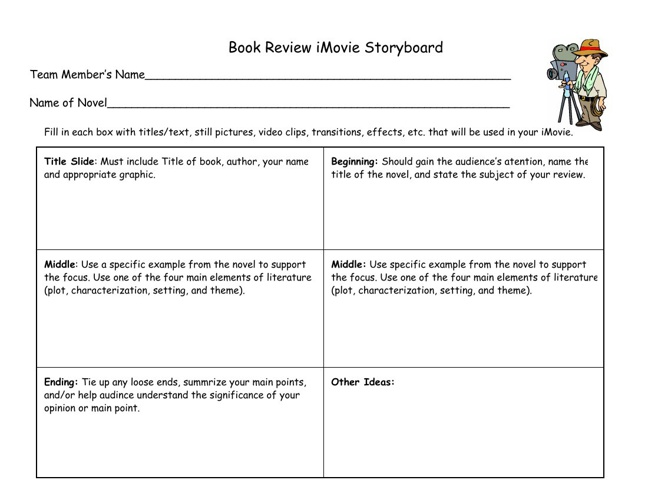 Book Review iMovie Storyboard