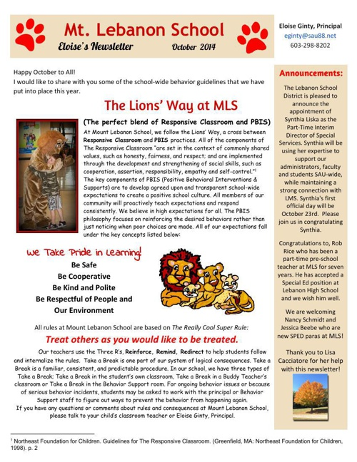 Ginty Principal's Newsletter Oct