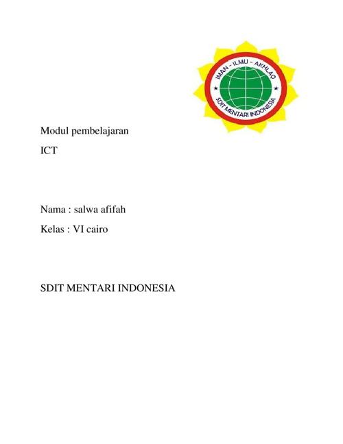 modul pembelajaran ict kelas VI SDIT MENTARI INDONESIA