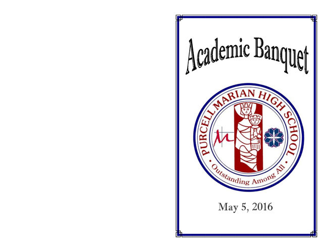 2016 Purcell Marian Academic Banquet Program