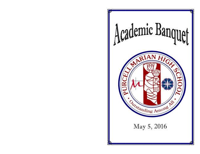 2016 Purcell Marian Academic Banquet Program