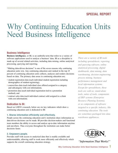 Why Continuing Education Units Need Business Intelligence