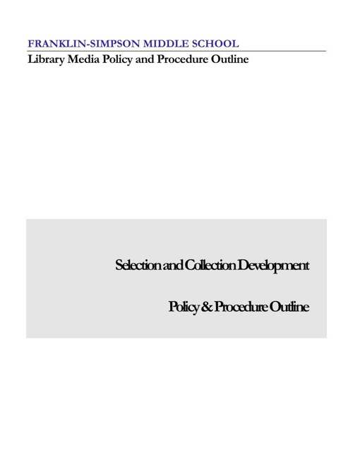 FSMS LMC Policy and Procedure Manual