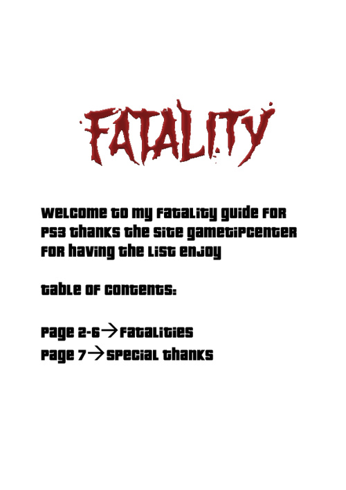 Mortal Kombat Fatality guide PS3