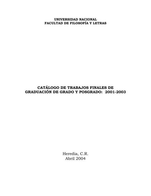 Catálogo de tesis FFL 2001