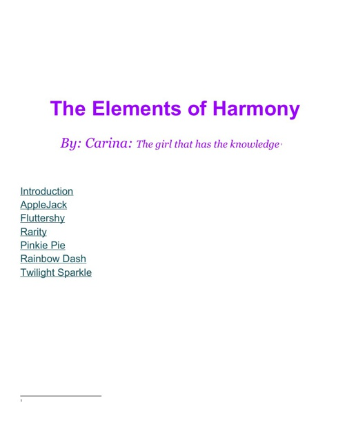 The Elements of Harmony