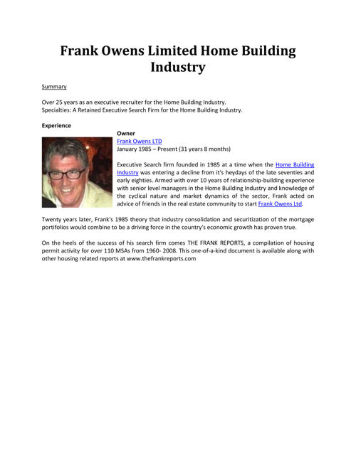 Frank Owens Limited Home Building Industry