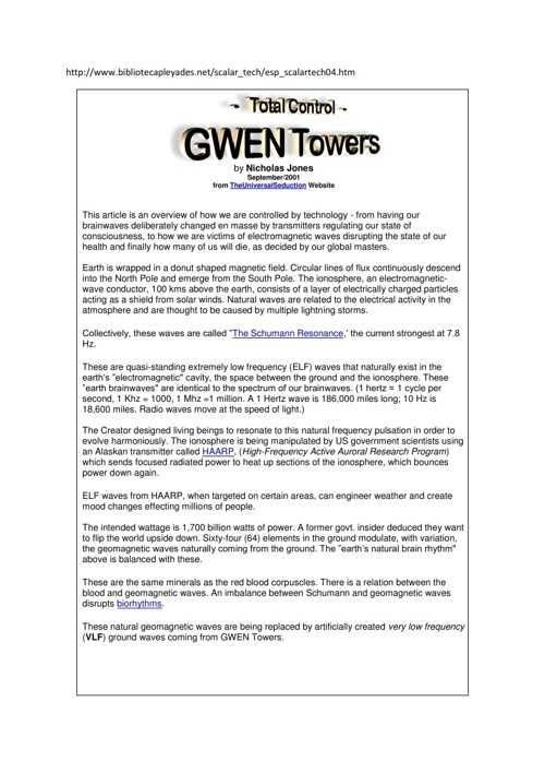 Gwen Tower-In Net-Work HAARP...