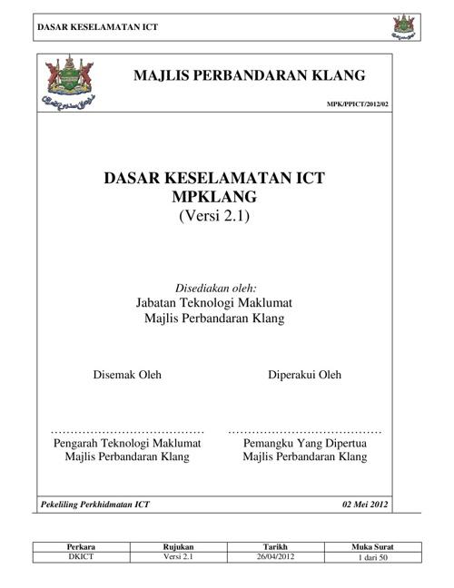 Dasar Keselamatan ICT MPKlang ( Versi 2.1 )