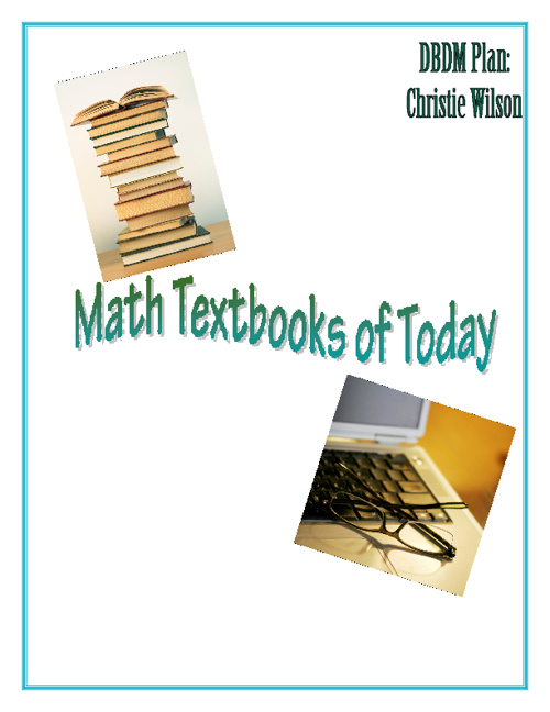 DBDM Plan- Math Textbooks