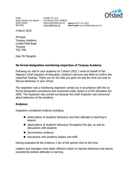 Ofsted letter 26.03.15
