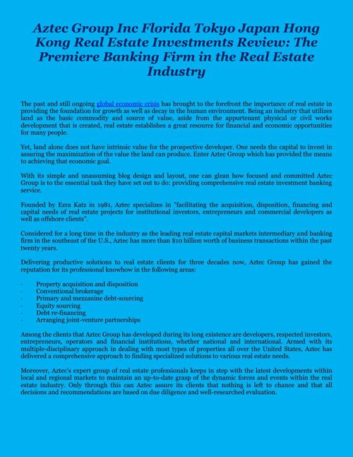 The Premiere Banking Firm in the Real Estate Industry