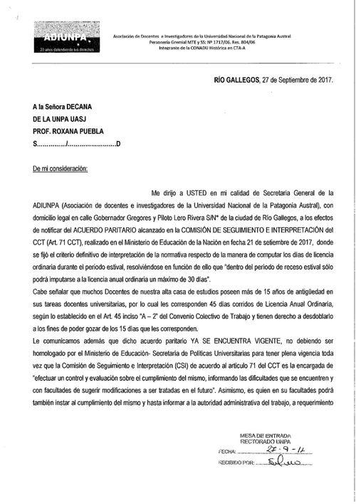 Nota Acuerdo Paritario - UASJ