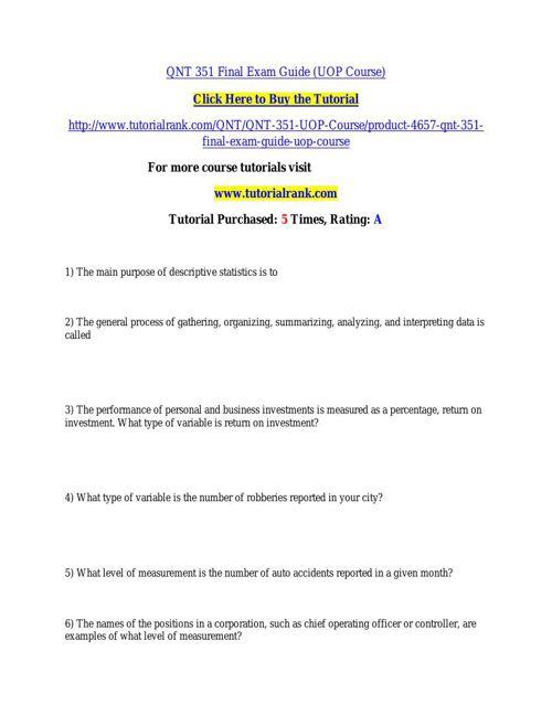 QNT 351 Potential Instructors / tutorialrank.com