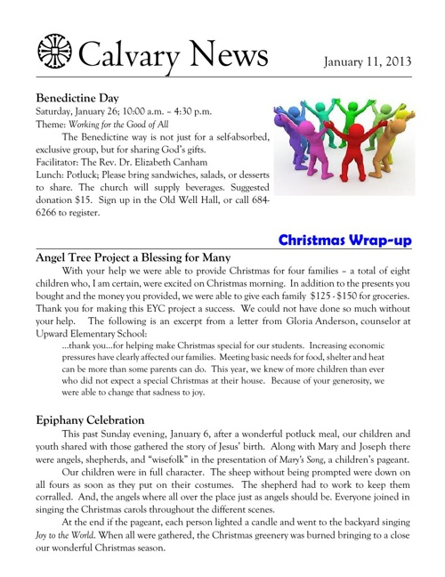 11 January 2013 Calvary Episcopal Newsletter