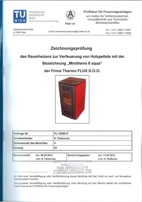 Minitherm AQUA certificate