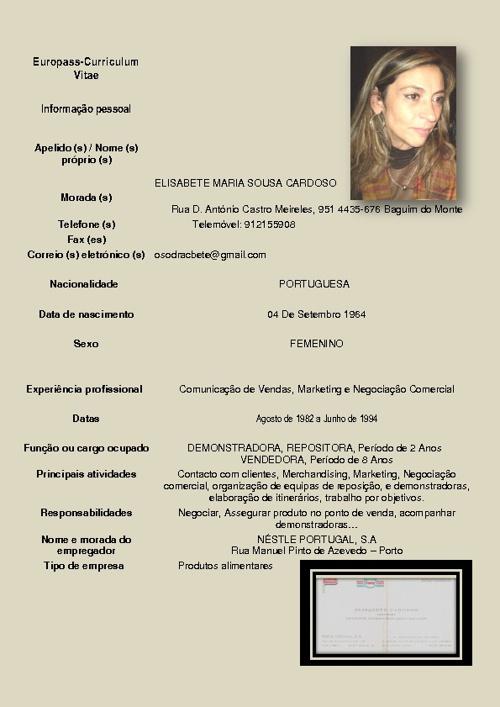 Curriculum Europass Elisabete Cardoso