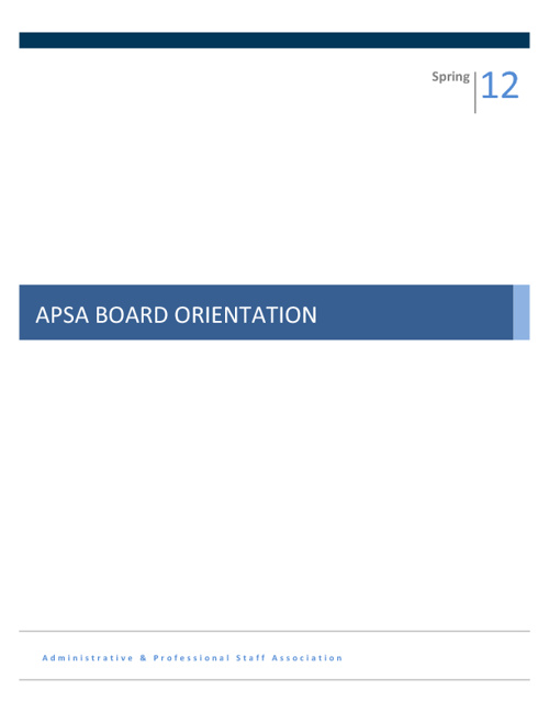 2012 Executive Board Orientation Manual