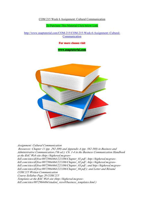 COM 215 Week 6 Assignment  Cultural Communication