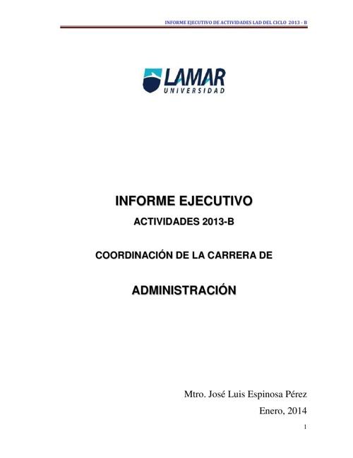 INFORME DE ACTIVIDADES 2013-B  COORDINACION LAD Copy