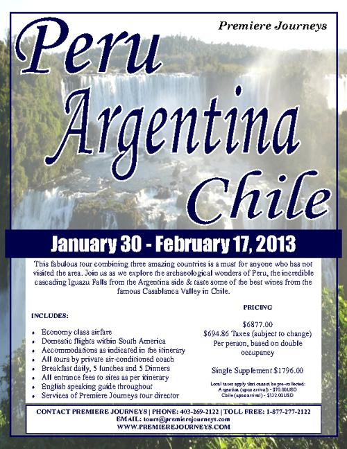 Peru, Argentina & Chile Tour