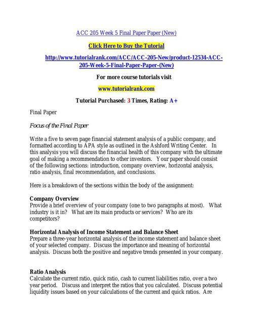 ACC 205 Week 5 Final Paper Paper (New)