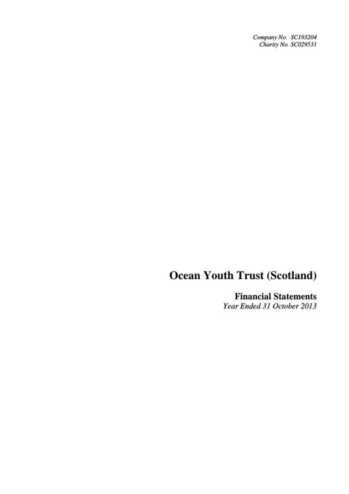 OYT Scotland Accounts 2013