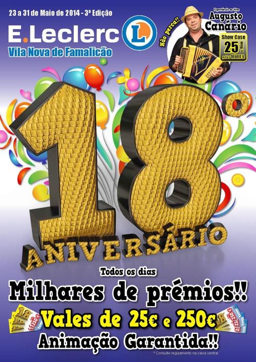 Folheto 18º Aniversário 3ª Edição E.Leclerc V.N. de Famalicão