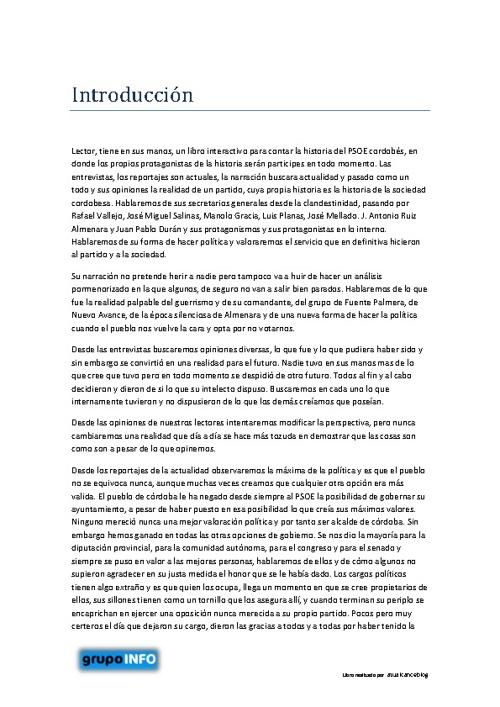 LA HISTORIA DEL PSOE CORDOBÉS JAMAS CONTADA