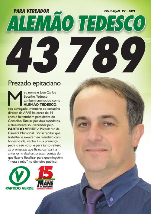 ALEMÃO TEDESCO • PARTIDO VERDE